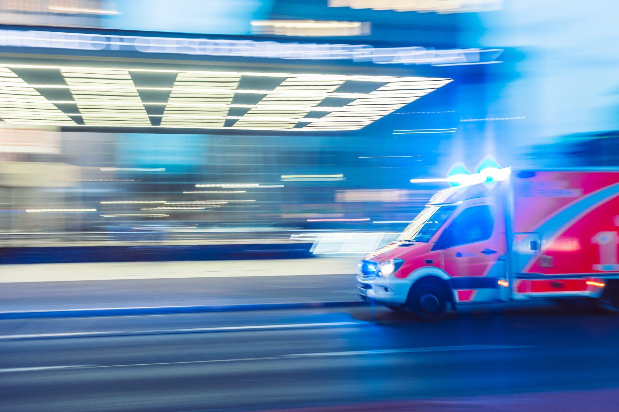 Ambulance rushing to hospital