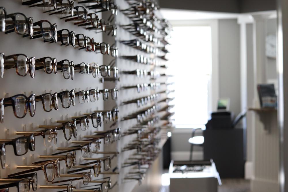 Display of eye glasses in a doctors office